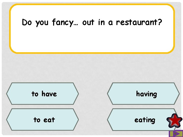 Do you fancy… out in a restaurant? to have having to eating