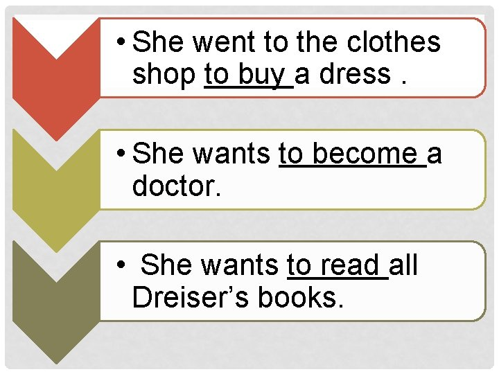 • She went to the clothes shop to buy a dress. • She