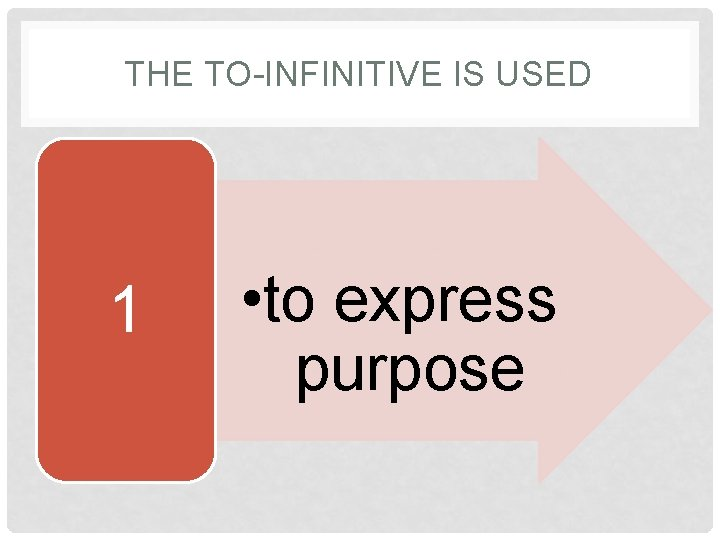 THE TO-INFINITIVE IS USED 1 • to express purpose