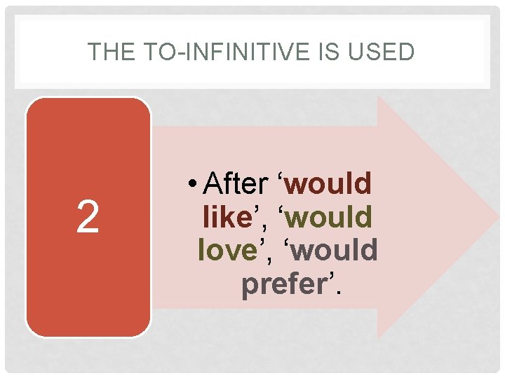 THE TO-INFINITIVE IS USED 2 • After 'would like', 'would love', 'would prefer'.