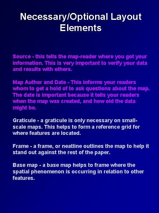 Necessary/Optional Layout Elements Source - this tells the map-reader where you got your information.