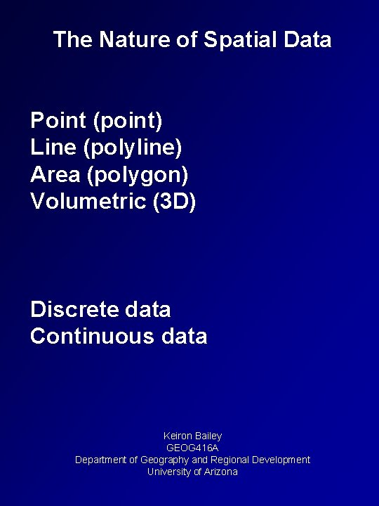 The Nature of Spatial Data Point (point) Line (polyline) Area (polygon) Volumetric (3 D)