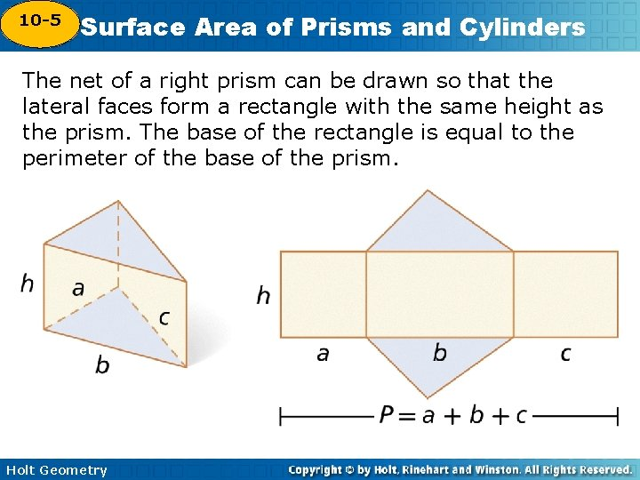 10 -5 Surface Area of Prisms and Cylinders 10 -4 The net of a