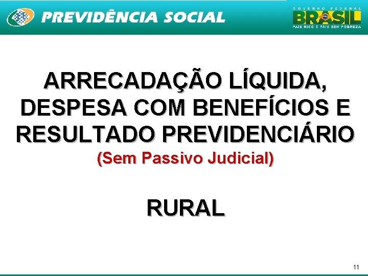 ARRECADAÇÃO LÍQUIDA, DESPESA COM BENEFÍCIOS E RESULTADO PREVIDENCIÁRIO (Sem Passivo Judicial) RURAL 11