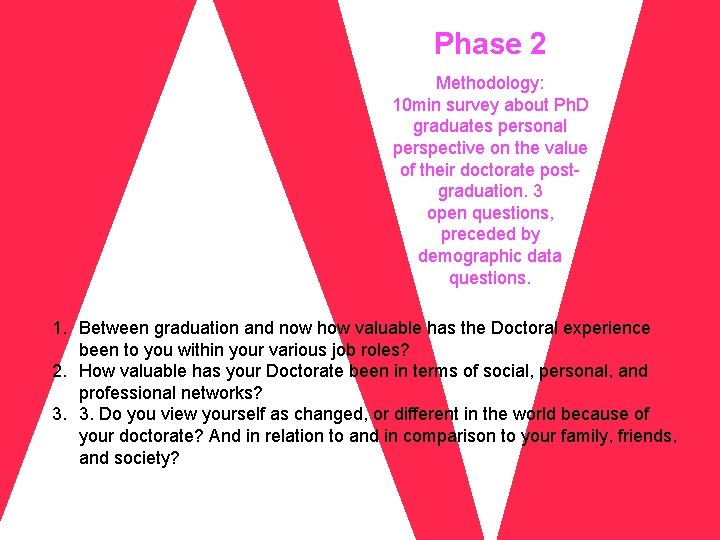Phase 2 Methodology: 10 min survey about Ph. D graduates personal perspective on the