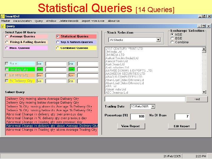 Statistical Queries [14 Queries]