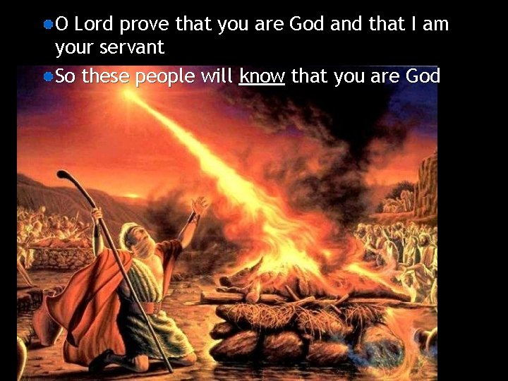 O Lord prove that you are God and that I am your servant So