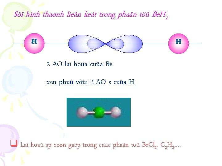 Söï hình thaønh lieân keát trong phaân töû Be. H 2 H H 2