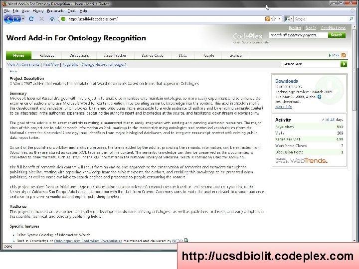 http: //ucsdbiolit. codeplex. com