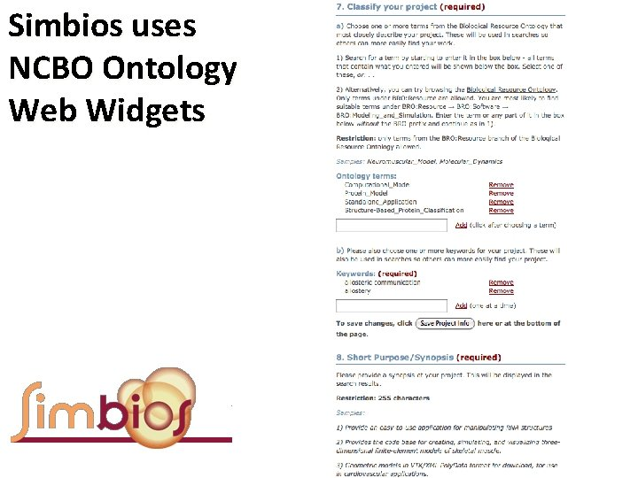 Simbios uses NCBO Ontology Web Widgets