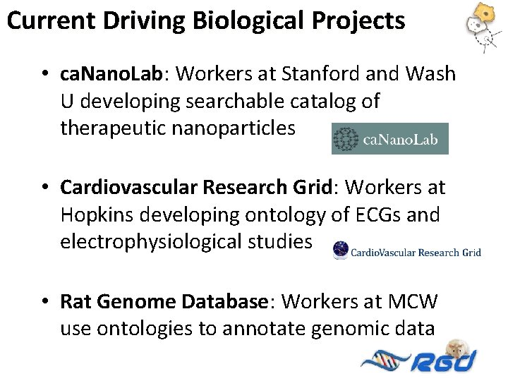 Current Driving Biological Projects • ca. Nano. Lab: Workers at Stanford and Wash U