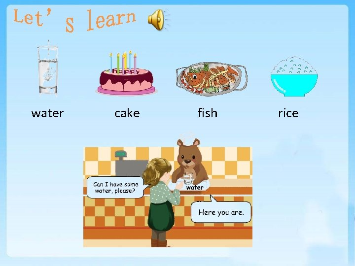 water cake fish rice