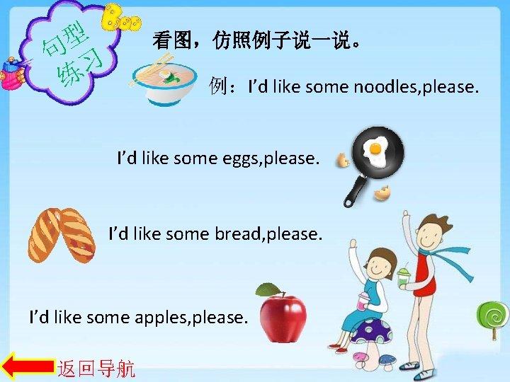 型 句 习 练 看图,仿照例子说一说。 例:I'd like some noodles, please. I'd like some eggs,