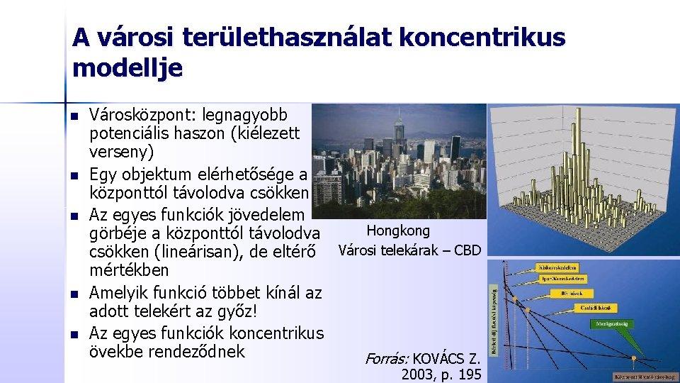 A városi területhasználat koncentrikus modellje n n n Városközpont: legnagyobb potenciális haszon (kiélezett verseny)