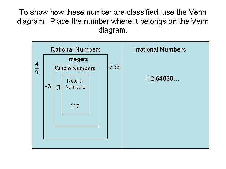 To show these number are classified, use the Venn diagram. Place the number where