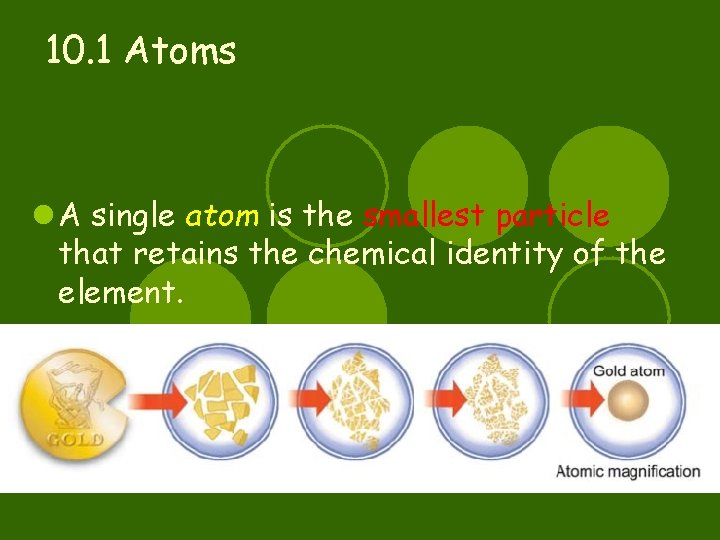 10. 1 Atoms l A single atom is the smallest particle that retains the