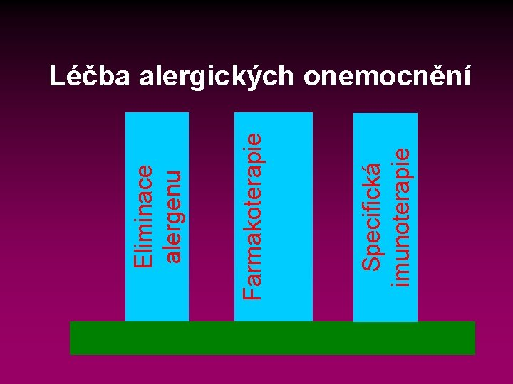 Specifická imunoterapie Farmakoterapie Eliminace alergenu Léčba alergických onemocnění