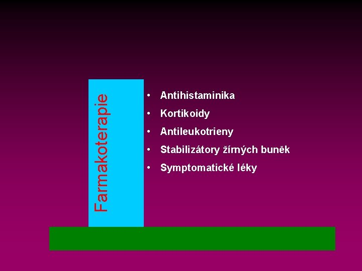 Farmakoterapie • Antihistaminika • Kortikoidy • Antileukotrieny • Stabilizátory žírných buněk • Symptomatické léky