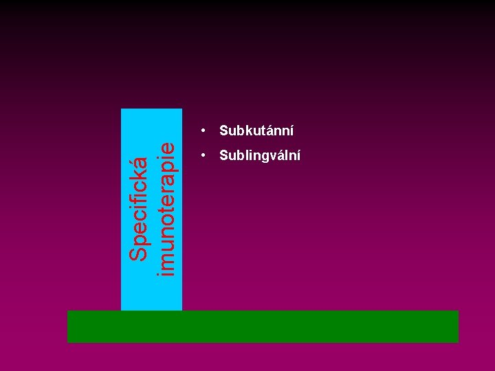 Specifická imunoterapie • Subkutánní • Sublingvální
