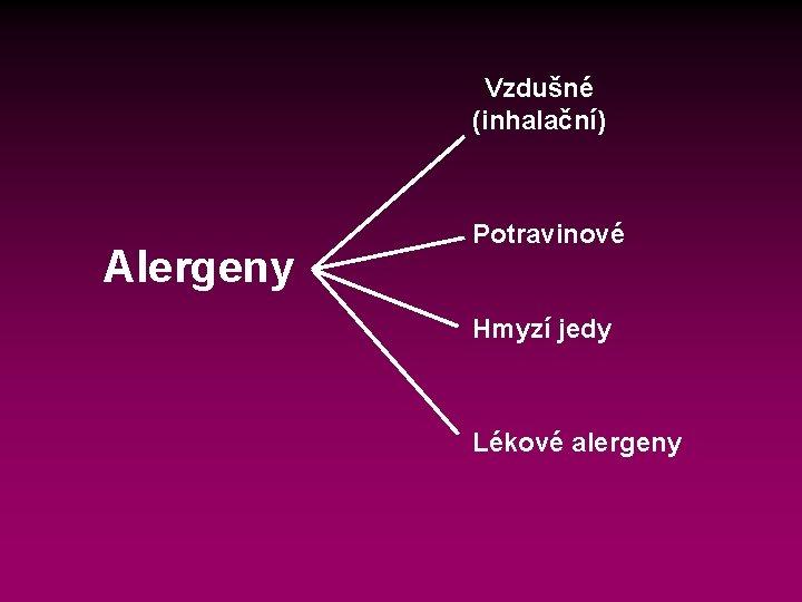 Vzdušné (inhalační) Alergeny Potravinové Hmyzí jedy Lékové alergeny