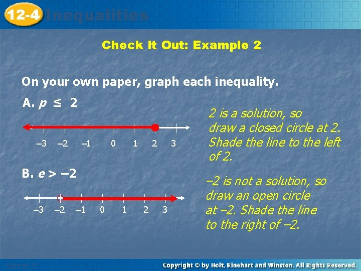 12 -4 Inequalities Check It Out: Example 2 On your own paper, graph each