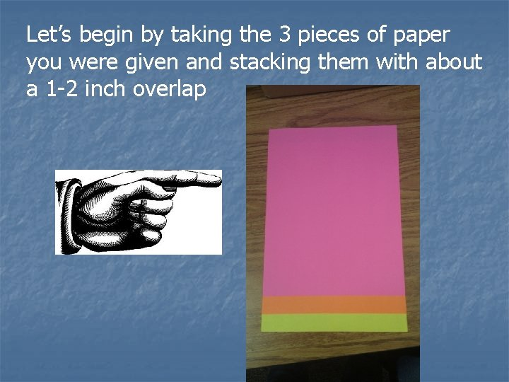 Let's begin by taking the 3 pieces of paper you were given and stacking