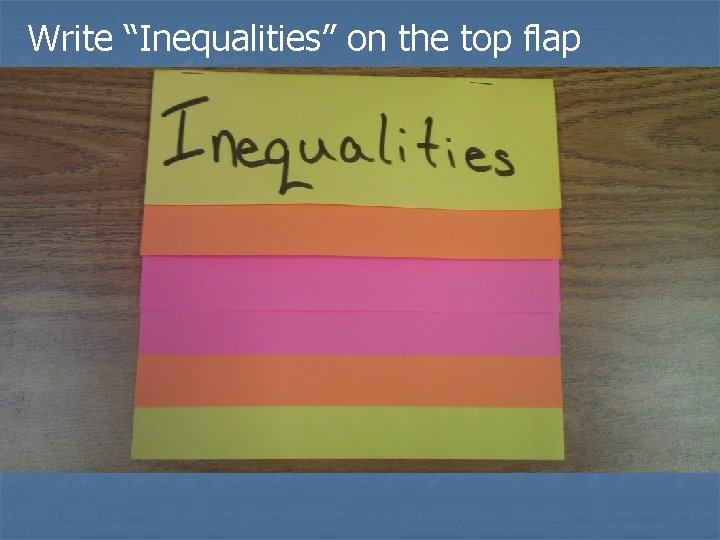 """Write """"Inequalities"""" on the top flap"""