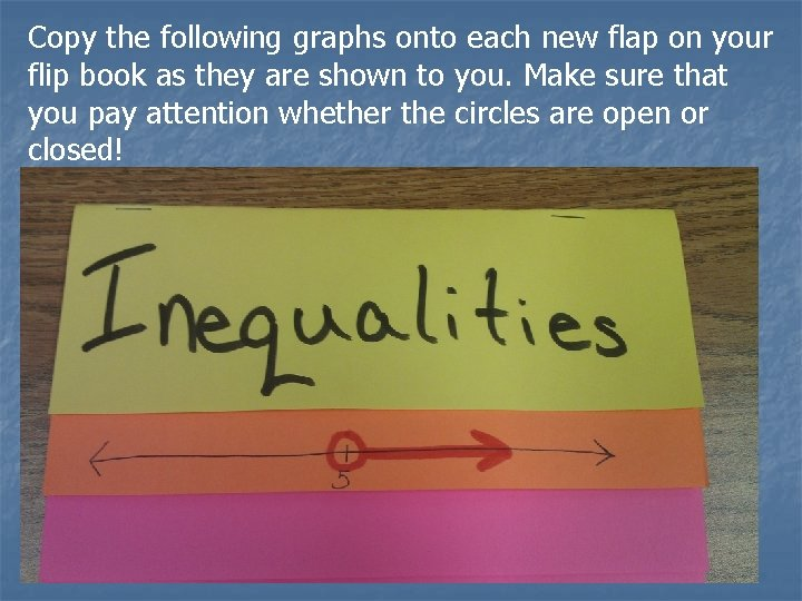 Copy the following graphs onto each new flap on your flip book as they