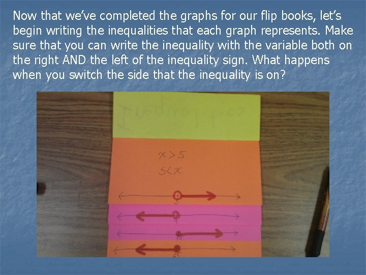 Now that we've completed the graphs for our flip books, let's begin writing the
