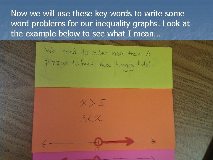 Now we will use these key words to write some word problems for our