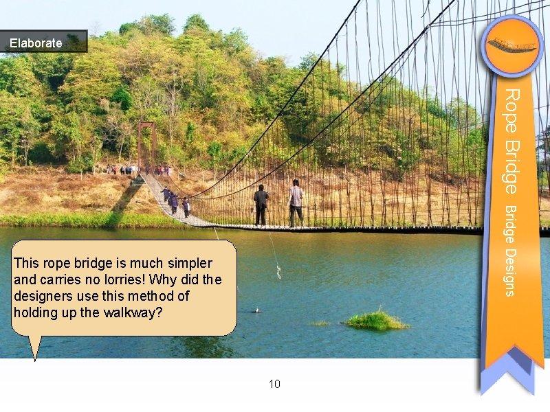 Elaborate Rope Bridge Designs This rope bridge is much simpler and carries no lorries!