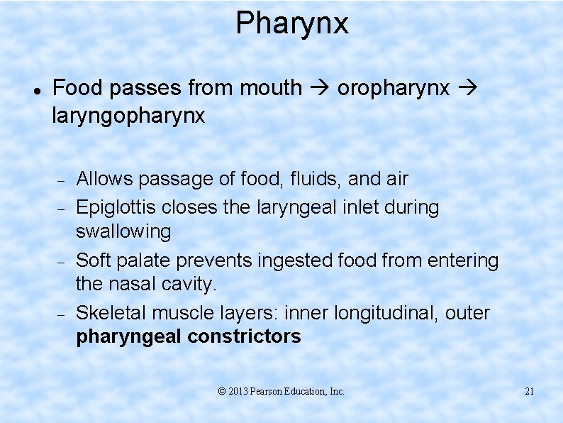 Pharynx Food passes from mouth oropharynx laryngopharynx Allows passage of food, fluids, and air