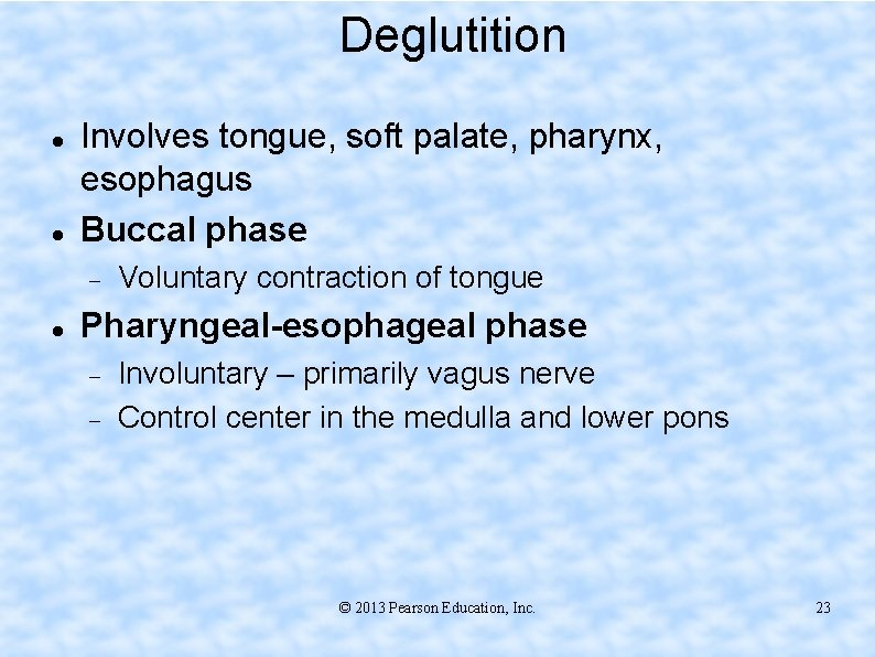 Deglutition Involves tongue, soft palate, pharynx, esophagus Buccal phase Voluntary contraction of tongue Pharyngeal-esophageal