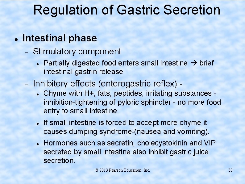 Regulation of Gastric Secretion Intestinal phase Stimulatory component Partially digested food enters small intestine