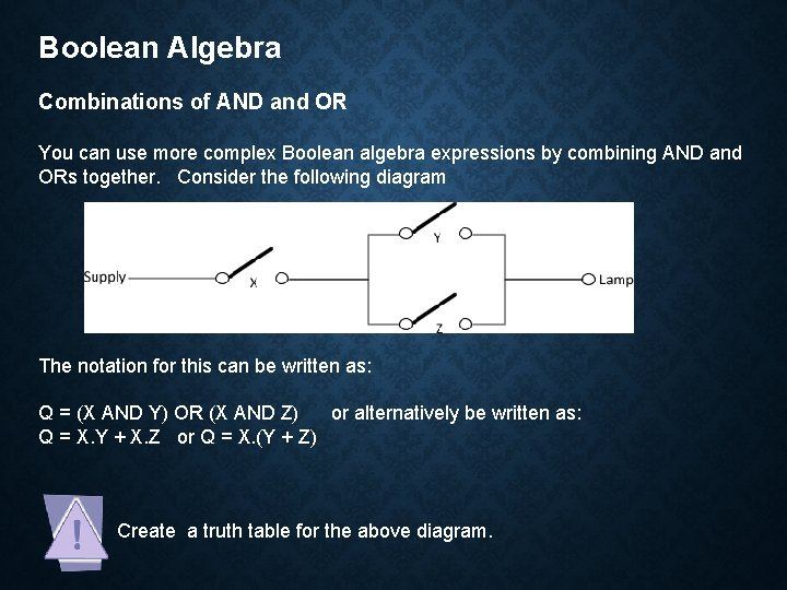 Boolean Algebra Combinations of AND and OR You can use more complex Boolean algebra