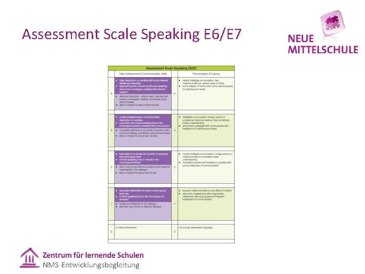 Assessment Scale Speaking E 6/E 7