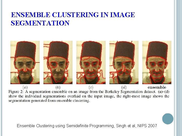 ENSEMBLE CLUSTERING IN IMAGE SEGMENTATION Ensemble Clustering using Semidefinite Programming, Singh et al, NIPS