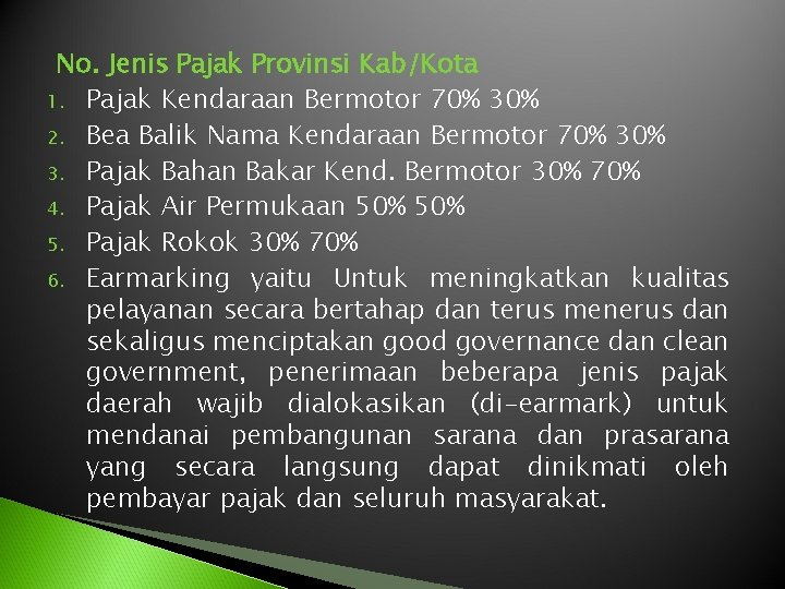 No. Jenis Pajak Provinsi Kab/Kota 1. Pajak Kendaraan Bermotor 70% 30% 2. Bea Balik