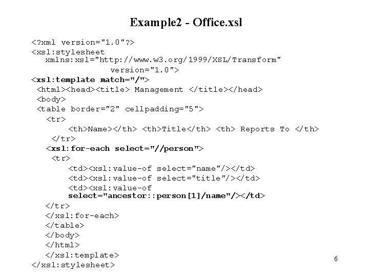 """Example 2 - Office. xsl <? xml version=""""1. 0""""? > <xsl: stylesheet xmlns: xsl=""""http:"""