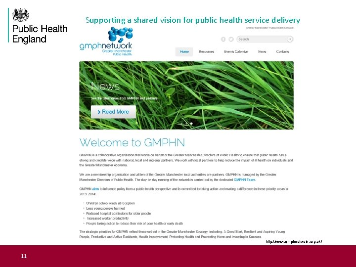 Supporting a shared vision for public health service delivery http: //www. gmphnetwork. org. uk/