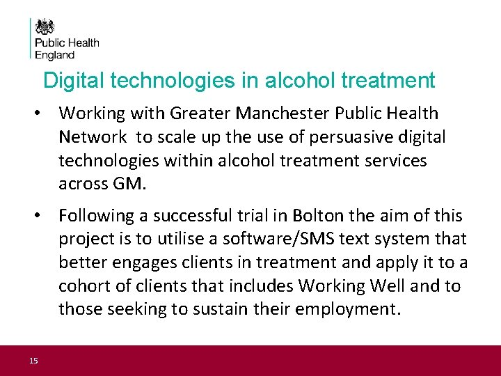 Digital technologies in alcohol treatment • Working with Greater Manchester Public Health Network to