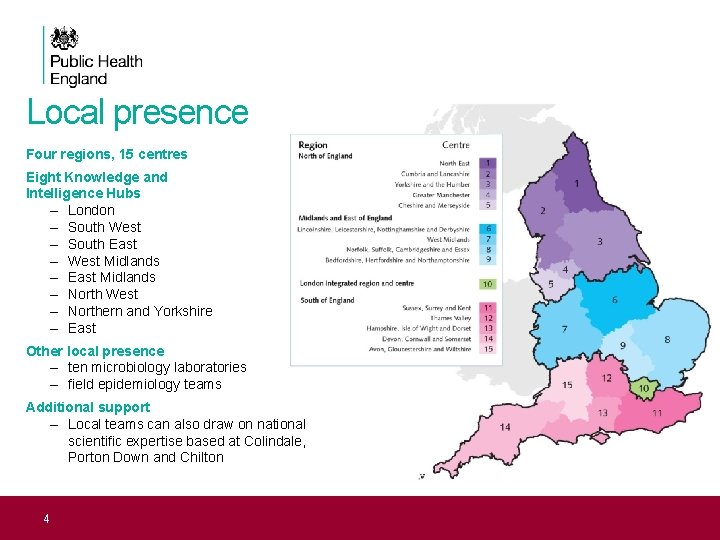 Local presence Four regions, 15 centres Eight Knowledge and Intelligence Hubs – London –