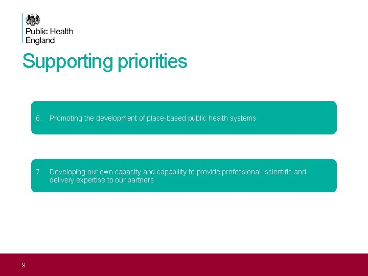 Supporting priorities 9 6. Promoting the development of place-based public health systems 7. Developing