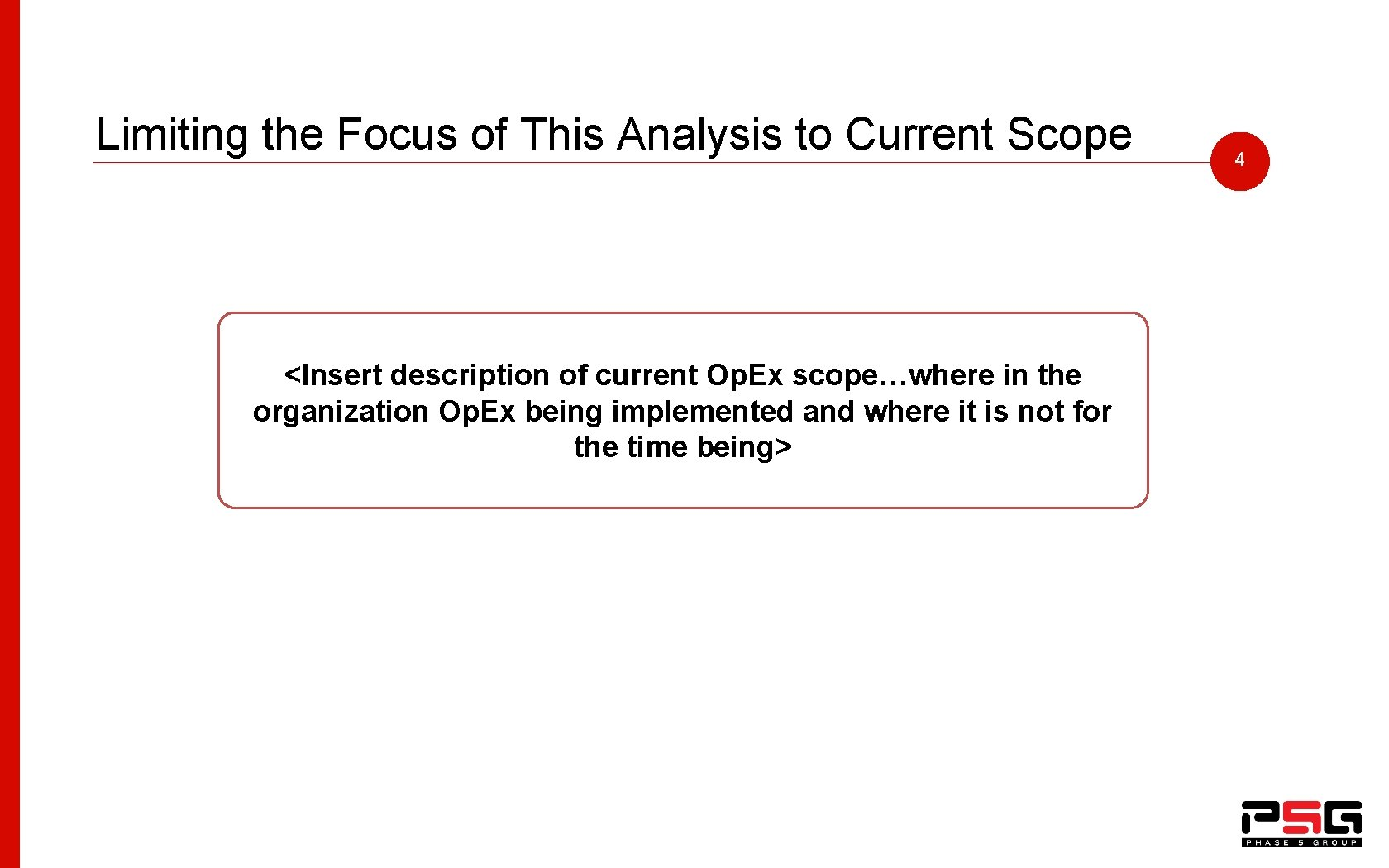 Limiting the Focus of This Analysis to Current Scope <Insert description of current Op.