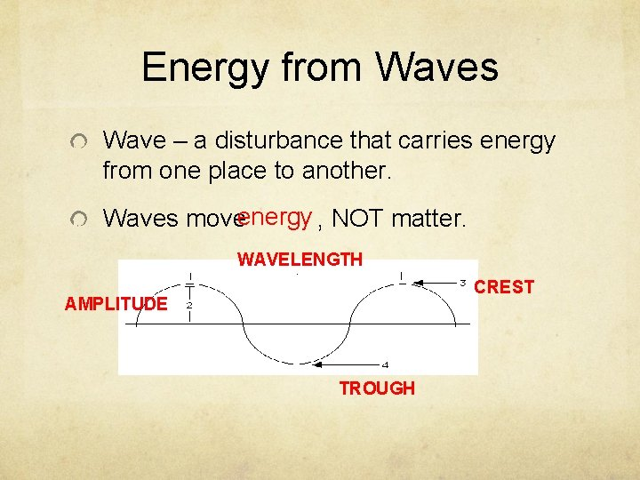 Energy from Waves Wave – a disturbance that carries energy from one place to