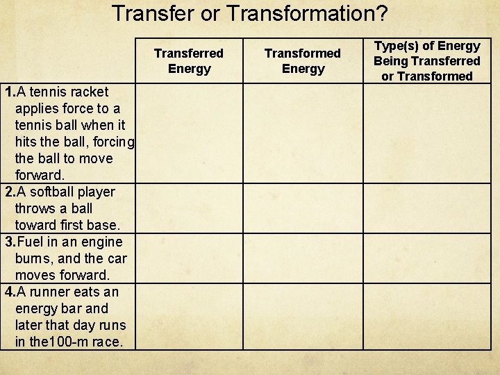Transfer or Transformation? Transferred Energy 1. A tennis racket applies force to a tennis
