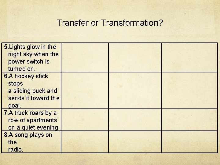 Transfer or Transformation? 5. Lights glow in the night sky when the power switch