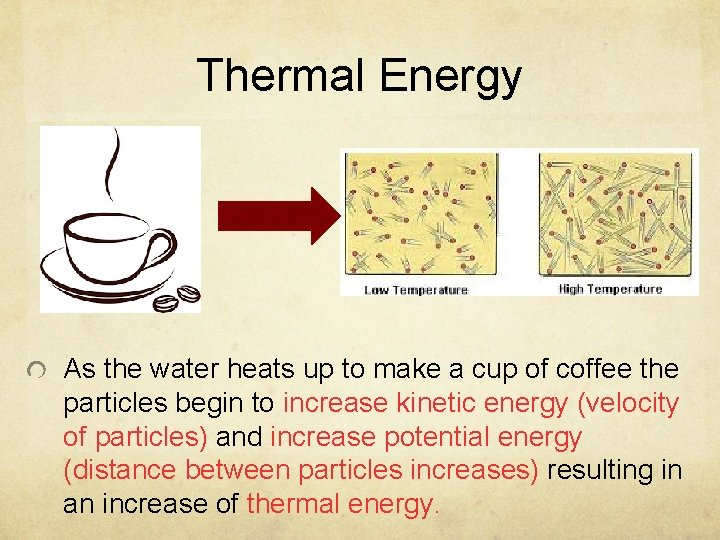 Thermal Energy As the water heats up to make a cup of coffee the