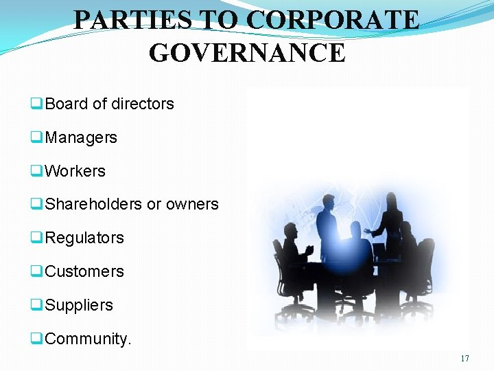 PARTIES TO CORPORATE GOVERNANCE q Board of directors q Managers q Workers q Shareholders