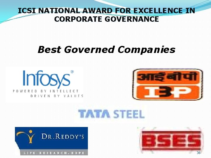 ICSI NATIONAL AWARD FOR EXCELLENCE IN CORPORATE GOVERNANCE Best Governed Companies 36